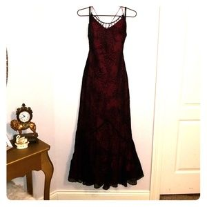 Black and red evening gown